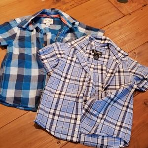 E-Land Kids Boys Long Sleeve Button Down Oxford Shirt 2T Red Blue Checked